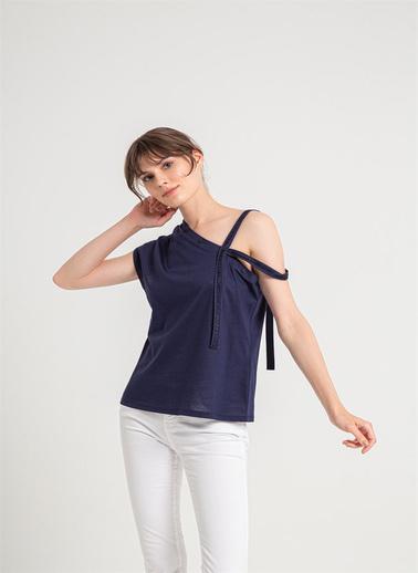 Rue Düğme Detaylı Tek Askılı Bluz Lacivert